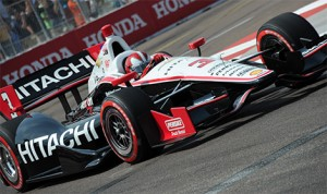 In 2013, Hitachi grew to become a primary sponsor on the No. 3 Team Penske machine driven by Castroneves at select IndyCar Series races. (IndyCar Photo)