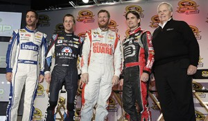 Jimmie Johnson, Kasey Kahne, Dale Earnhardt Jr, Jeff Gordon and Rick Hendrick during the NASCAR Sprint Media Tour Hosted by Charlotte Motor Speedway at Charlotte Convention Center in Charlotte NC. (HHP/Harold Hinson)