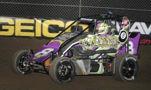 Jonathan Beason took the checkered flag on the opening night of the Lucas Oil Chili Bowl Nationals. (Frank Smith photo)