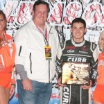 Kyle Larson in victory lane after winning the Vacuworx Invitational Race of Champions Tuesday night at Tulsa Expo Raceway. (Frank Smith Photo)