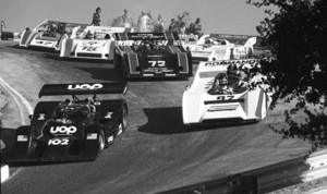Rush hour in the Corkscrew in 1973 when the Can-Am cars originally raced.