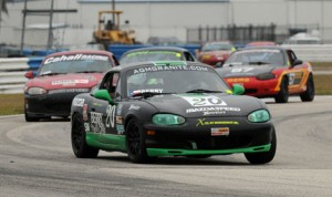 Craig Berry (20) topped 71 Spec Miatas for a season opening win in the Spec Miata class during the SCCA Majors Tour Eastern Conference at Sebring (Fla.) Int'l Raceway on Saturday. (Mark Weber Photo)