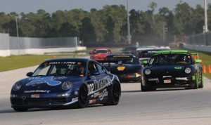 Andrew Longe leads his race group just after the green flag on Sunday during the SCCA Eastern Majors Tour event at Palm Beach Int'l Raceway. (Mark Weber Photo)