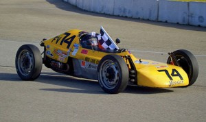 Mark Edwards celebrates after his Formula Vee win during Sunday's SCCA Western Conference event at Auto Club Speedway in Fontana, Calif. (Dennis Baer Photo)