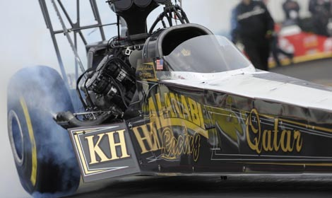 Khalid alBalooshi rolled to victory in the Top Fuel category during the Circle K NHRA Winternationals on Sunday. (NHRA Photo)