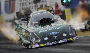 John Force earned the No. 1 qualifying spot in the NHRA Funny Car class Saturday at Arizona's Wild Horse Pass Motorsports Park. (NHRA Photo)