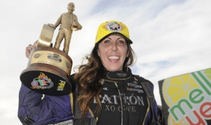 Alexis DeJoria became the fourth female driver to win in NHRA Funny Car competition Sunday at Wild Horse Pass Motorsports Park in Arizona. (NHRA Photo)