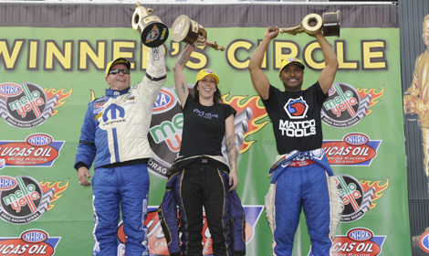 Allen Johnson (left), Alexis DeJoria (center) and Antron Brown were the winners in NHRA competition Sunday at Wild Horse Pass Motorsports Park. (NHRA Photo)
