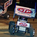 Donny Schatz slides through a corner during heat race action as part of the World of Outlaws STP Sprint Car Series opener on Friday at Volusia Speedway Park. (Chris Seelman Photo)