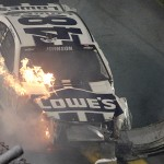 Jimmie Johnson wrecks on the final lap during the second Budweiser Duel at the Daytona Int'l Speedway in Daytona Beach, Fla. (HHP Photo/Tom Copeland)