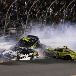"""Cars crash during """"The Big One"""" as part of the Sprint Unlimited Saturday at Daytona Int'l Speedway. (HHP/Harold Hinson Photo)"""