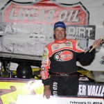 Billy Moyer in victory lane after winning Tuesday's Lucas Oil Late Model Dirt Series feature at East Bay Raceway Park in Florida. (Al Steinberg Photo)