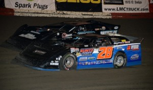 Dennis Erb Jr. (28) won Thursday's Lucas Oil Late Model Dirt Series race at East Bay Raceway Park. (Al Steinberg photo)