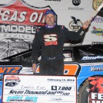 Dennis Erb Jr. celebrates in victory lane after winning Thursday's Lucas Oil Late Model Dirt Series race at East Bay Raceway Park in Florida. (Al Steinberg Photo)