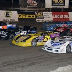 The Lucas Oil Late Model Dirt Series field prepares to go racing Friday at East Bay Raceway Park. (Al Steinberg Photo)