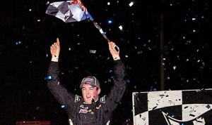Ty Dillon celebrates after winning Monday's UMP Modified feature at Volusia Speedway Park in Barberville, Fla. (Hein Brothers Photo)