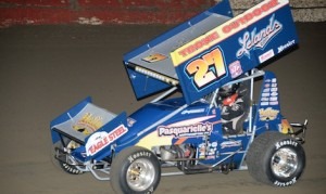 Greg Hodnett set fast time during 360 sprint car hot laps at East Bay Raceway Park on Wednesday night.