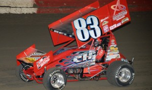 Christopher Bell, seen here driving the CH Motorsports No. 83 during 360 sprint-car action at East Bay Raceway Park last week, has left the team. (Al Steinberg Photo)