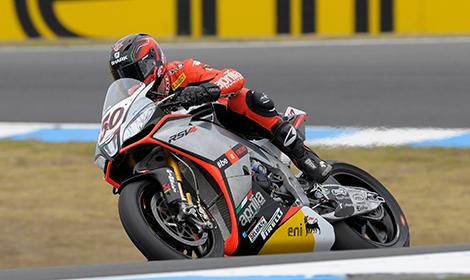 Sylvain Guintoli won the pole for Sunday's opening World Superbike race at Australia's Phillip Island GP Circuit. (Aprilia photo