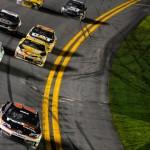 Denny Hamlin crosses the finish line to win Saturday's Sprint Unlimited at Daytona Int'l Speedway. (NASCAR Photo)