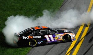 Denny Hamlin celebrates after winning Saturday's Sprint Unlimited. (NASCAR Photo)