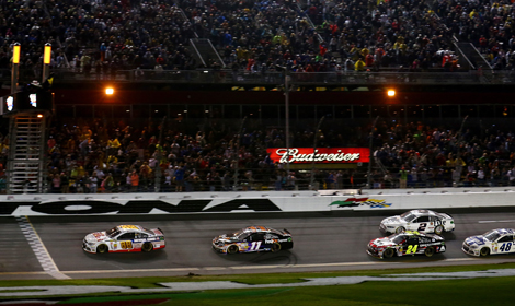 Dale Earnhardt Jr. (88) leads the field to the checkered flag to win the 56th Daytona 500. (NASCAR Photo)