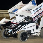 Kerry Madsen (29), shown at Bubba Raceway Park, won Tuesday's World of Outlaws STP Sprint Car Series feature at El Paso Speedway Park. (Al Steinberg Photo)