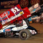 Paul McMahan (51) battles Brad Sweet for the race lead during Friday's World of Outlaws STP Sprint Car Series opener at Volusia Speedway Park in Florida. (Hein Brothers Photo)