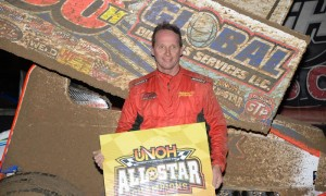 Dave Blaney stands in victory lane after winning the UNOH All Star Circuit of Champions sprint-car feature at Bubba Raceway Park in Ocala, Fla in February. Blaney will be honored by the Sprint Car Hall of Fame this weekend. (Al Steinberg Photo)