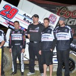 Kerry Madsen and his crew stand in victory lane after winning Monday's UNOH All Star Circuit of Champions feature at Bubba Raceway Park. (Chris Seelman Photo)