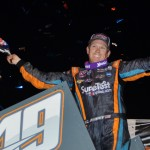 Brad Sweet celebrates in victory lane after capturing the World of Outlaws STP Sprint Car Series opener on Friday at Volusia Speedway Park in Barberville, Fla. (Chris Seelman Photo)