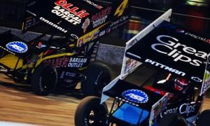 Daryn Pittman (9) battles Cody Darrah during a World of Outlaws STP Sprint Car Series event at Volusia Speedway Park. (Chris Seelman Photo)