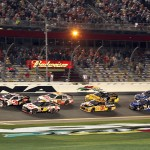 Austin Dillon, driver of the No. 3 Chevrolet, and Greg Biffle, driver of the No. 16 3M Ford, lead the field to the green flag to start Budweiser Duel No. 1 at Daytona Int'l Speedway in Daytona Beach, Fla. (Photo: Dick Ayers)