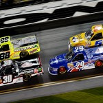 Ron Hornaday Jr., Matt Crafton, Ryan Blaney and John Wes Townley during the Camping World Truck Series NextEra Energy Resources 250 at Daytona Int'l Speedway in Daytona Beach, Fla  (Photo by Jared C. Tilton/Getty Images)
