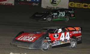 Earl Pearson Jr. (44), shown at East Bay Raceway Park, won Wednesday's Lucas Oil Late Model Dirt Series feature at Roaring Knob Motorsports Complex. (Mike Ruefer Photo)
