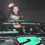 Stormy Scott exits his car after winning Sunday's USMTS modified feature at South Texas Speedway. (RonSkinnerPhotos.com Photo)