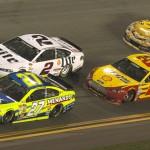 Paul Menard (27), Brad Keselowski (2), Joey Logano (22) and Kyle Busch during Sunday's Daytona 500. (Dick Ayers Photo)