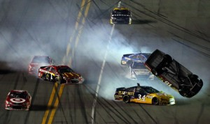Clint Bowyer gets upside down during the last-lap crash in Budweiser Duel No. 2 Thursday at Daytona Int'l Speedway. (NASCAR Photo)