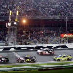 Denny Hamlin leads Jeff Gordon to the checkered flag as he wins Budweiser Duel Race No. 2 at the Daytona Int'l Speedway in Daytona Beach, Fla. (Photo by Jerry Markland/Getty Images)