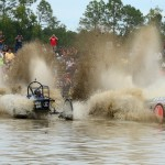 Dan Greenling (333-Roll On) battles with Reece Gardner (3-Air Head) in elimination round action for the Pro Mod 2/4WD division during the Swamp Buggy Winter Classic. (Joe Secka/JMS Pro Photo)