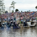 "A packed house watches as six competitors in the Jeep class take the green flag and head for the ""sippy hole"" during the Swamp Buggy Winter Classic. (Joe Secka/JMS Pro Photo)"