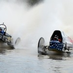 Dan Greenling (333-Roll On) and Tyler Johns (300-Patriot) are hammer down coming out of the final turn during the Swamp Buggy Winter Classic. (Joe Secka/JMS Pro Photo)