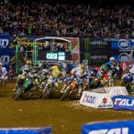 Monster Energy AMA Supercross riders jockey for position at the beginning of round six at Qualcomm Stadium in San Diego. (Hoppenworld photo)