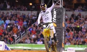James Stewart collected his second consecutive Monster Energy Supercross triumph Saturday at AT&T Stadium. (Simon Cudby photo)