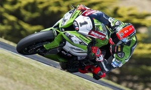 Tom Sykes was fastest during day two of the World Superbike test in Phillip Island, Australia. (Kawasaki Photo)