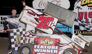 Luke Thomas wins the Florida Mini Sprint Ass'n feature on the final night of the Winternationals at East Bay Raceway Park. (Mike Horne Photo)