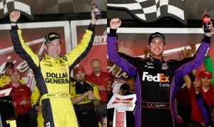 Matt Kenseth (left) and Denny Hamlin (right) swept the Budweiser Duels for Joe Gibbs Racing on Thursday. (NASCAR & HHP/Harold Hinson Photos)
