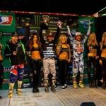 Monster Energy Supercross winners James Stewart and Justin Hill enjoy the podium ceremony at Qualcomm Stadium in San Diego. (Hoppenworld photo)