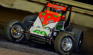 Brady Bacon drove the Hoffman No. 69 to victory in Thursday night's USAC sprint car opener at East Bay Raceway Park. (Chris Seelman photo)