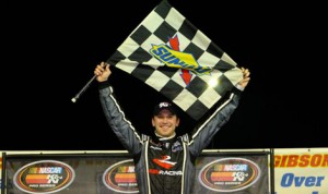 Daniel Suarez celebrates after winning Sunday's NASCAR K&N Pro Series East event at New Smyrna Speedway. (NASCAR Photo)